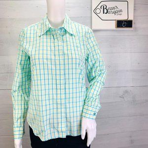 Lilly Pulitzer Top Blouse Button Green Blue Plaid